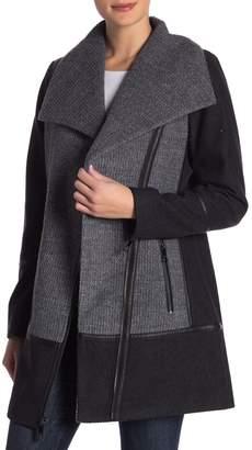 GUESS Wool Blend Asymmetrical Zip Coat