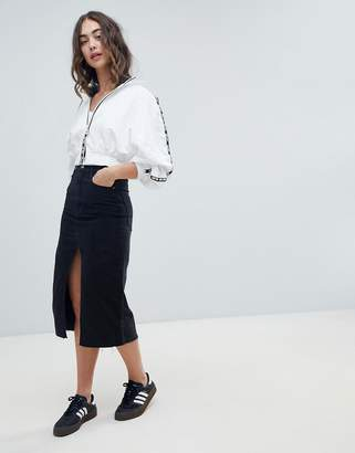 Pull&Bear split front midi skirt in black