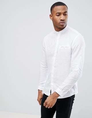 Celio Long Sleeve Shirt With Grandad Collar In White