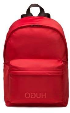 HUGO Boss Reversed-logo backpack in nylon gabardine One Size Red