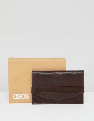 Asos DESIGN leather card holder in brown with vintage finish and elastic