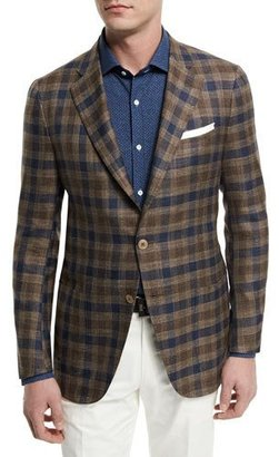 Isaia Large Check Two-Button Sport Coat, Brown/Navy $2,995 thestylecure.com