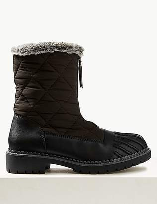 Marks and Spencer Front Zipped Quilted Duck Boots