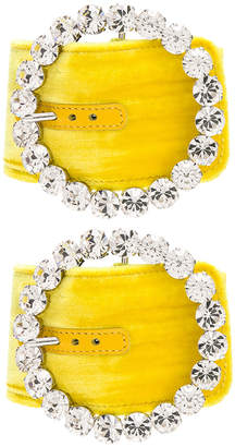 Crystal Buckle Anklet Cuff in Yellow | FWRD