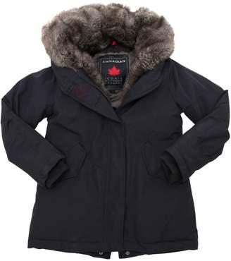 Nylon Puffer Parka W/ Faux Fur