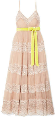 Valentino Embellished Lace-trimmed Tulle Gown - Blush