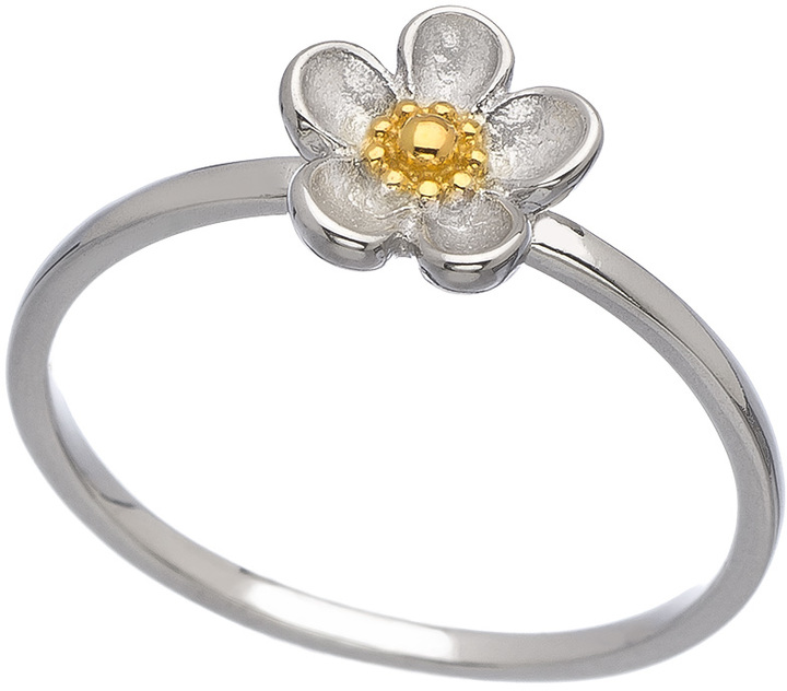Kit Heath Silver and Gold Wood Rose Ring