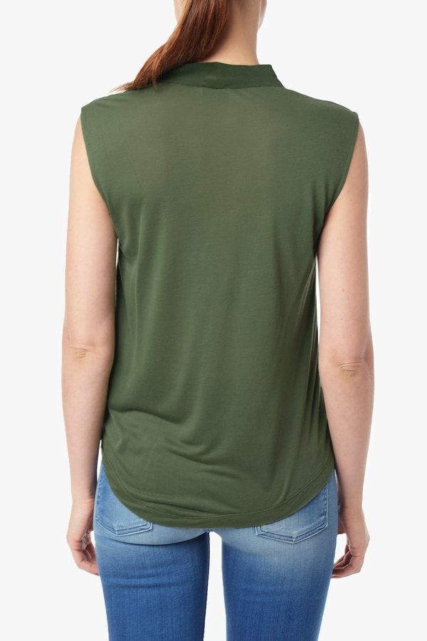 7 For All Mankind Twist Cowl Tank In Olive
