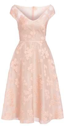 Lela Rose Open Neck Fil Coupe Floral Fit-&-Flare Dress