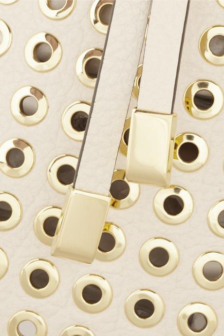 Michael Kors Miranda eyelet-embellished textured-leather tote
