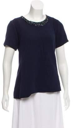 Rebecca Taylor Embellished Short Sleeve Top