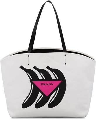 Prada Large canvas tote with Logo print
