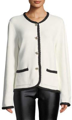 Karl Lagerfeld Paris Button-Front Braided-Trim Cardigan