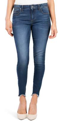 KUT from the Kloth Donna High Waist Frayed Hem Skinny Jeans
