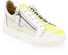 Giuseppe Zanotti Kid's Splatter Embossed Leather Low-Top Sneakers