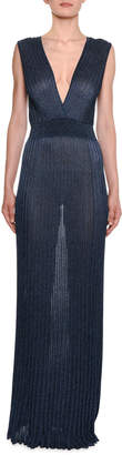 Missoni Shimmered V-Neck Pleated Long Dress