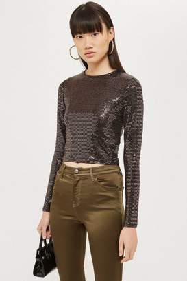 Topshop Sequin With Metallic Thread Crop T-Shirt