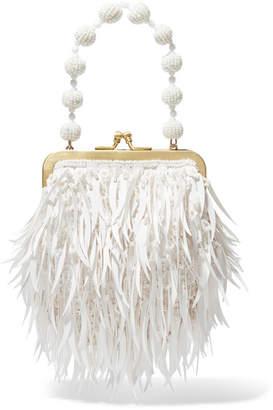 Emily Levine - Tribbie Embellished Satin Clutch - White