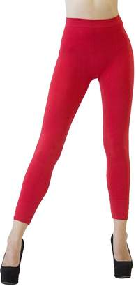 D&K Monarchy Women's Seamless Full Length Stud Embellished Tights, Red, 0-6