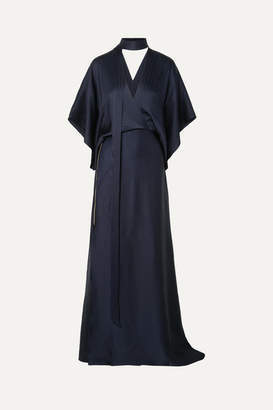 Roland Mouret Duval Wrap-effect Asymmetric Hammered Silk-satin Gown - Navy