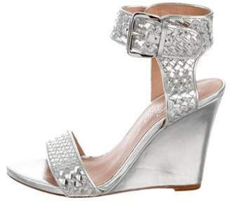 Alejandro Ingelmo Woven Leather Wedges Silver Woven Leather Wedges