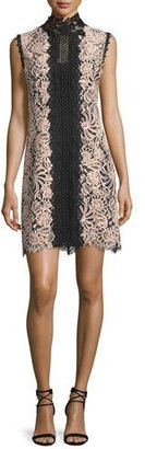 Nanette Lepore Sleeveless Lace Colorblock Mini Dress, Desert Rose $398 thestylecure.com