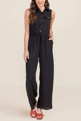 francesca's Wendy Sleeveless Utility Jumpsuit - Black