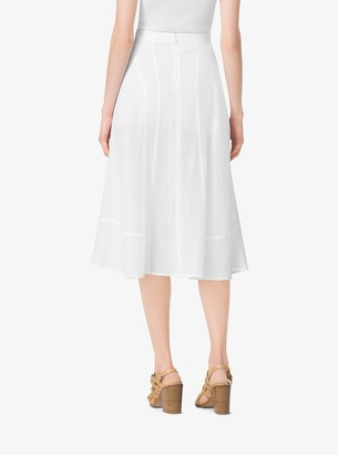 Michael Kors Seamed Linen-Crepe Skirt