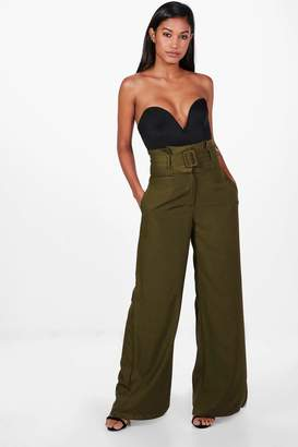 boohoo Belted High Waist Tailored Wide Leg Trousers