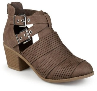 Co Brinley Women's Faux Leather Stacked Heel Cut Out Buckle Boots