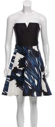 Halston Strapless Floral Print Dress