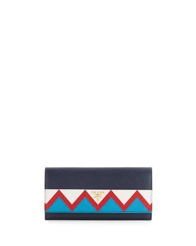 pradaPrada Saffiano Greca Flap Wallet, Blue/White/Red (Baltico+Bianco+Rosso)