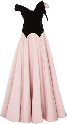 Marchesa Strapless Velvet Ballgown With Duchess Satin Skirt