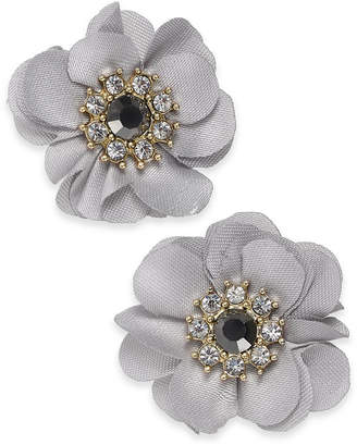 "INC International Concepts I.N.C. Medium Gold-Tone Crystal & Stone Fabric Flower Stud Earrings, 1.25"", Created for Macy's"