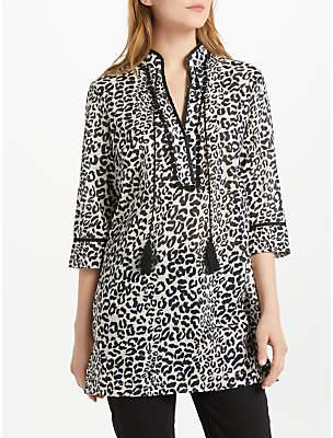Oui Leopard Print Tunic Dress, Off White/Grey