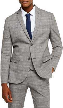 Topman Check Slim-Fit Peak-Lapel Suit Jacket