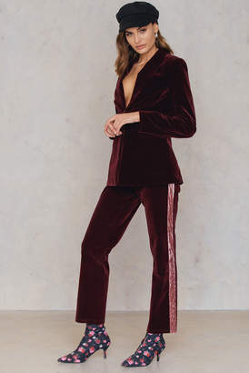 Na Kd Party Velvet Striped Trousers Burgundy