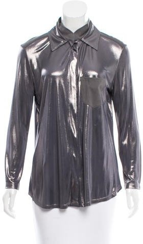 Christian Dior Metallic Button-Up Top