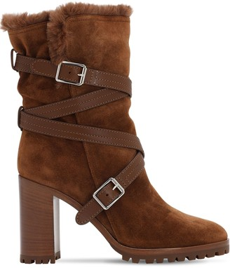Gianvito Rossi 85MM SUEDE & FAUX FUR ANKLE BOOTS