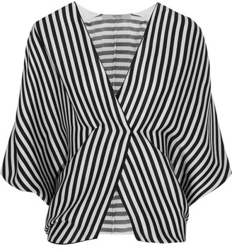 Etro - Wrap-effect Striped Ribbed Silk Top - Black $1,040 thestylecure.com