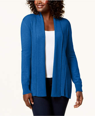 Karen Scott Ribbed Shawl Open Cardigan