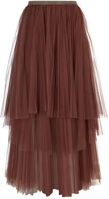 Brunello Cucinelli Pleated Tulle Skirt