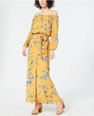 INC International Concepts Inc Long-Sleeve Off-the-Shoulder Floral Maxi Dress