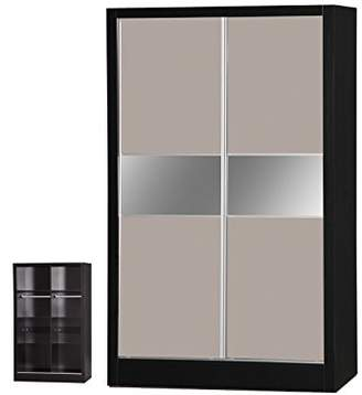 Alpha Luxe Stone Grey & Black 2 Door Sliding Wardrobe Mirrored