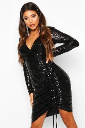 boohoo Sequin Plunge Neck Ruched Midi Dress