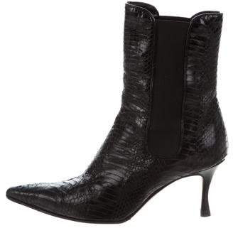 Manolo Blahnik Alligator Pointed-Toe Ankle Boots