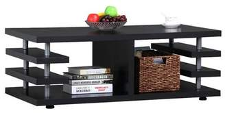 Yaheetech Multi-Tier Design Modern Wood Coffee Table with Storage Shelves for Living Room, Black