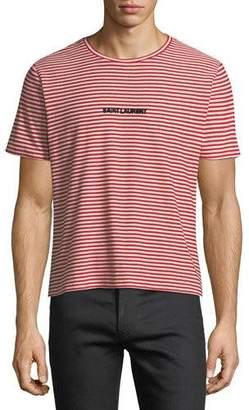 Saint Laurent Striped Logo-Graphic T-Shirt