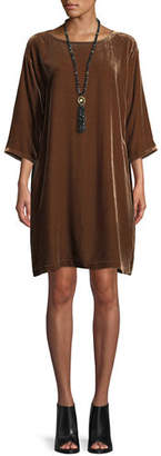 Eileen Fisher Short Velvet Shift Dress, Plus Size