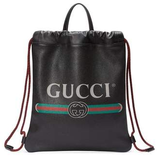 Gucci Small Logo Leather Drawstring Backpack